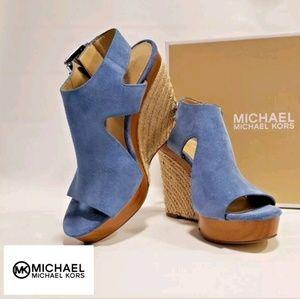 Michael Kors Women's Blue Wedge Suede